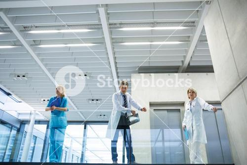Medical team standing in the passageway