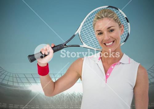 Tennis player smiling against stadium with blue sky and bright lights
