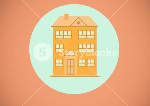 House illustration in blue circle