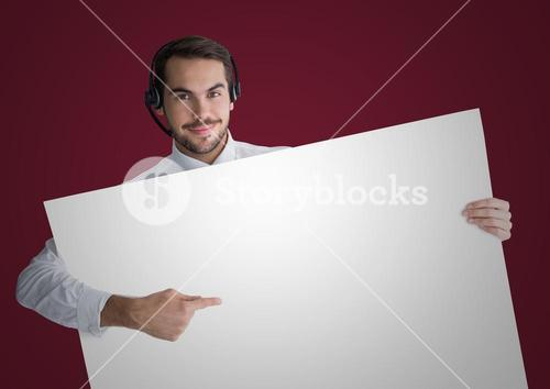 Customer service man with large blank card against maroon background