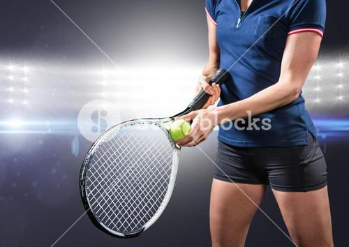 Tennis player against bright lights
