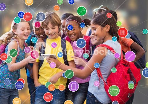 Children with phone against blur background with connectors