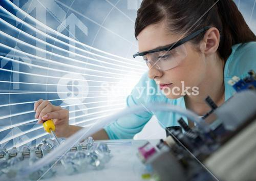 Woman with electronics against blue background with arrows