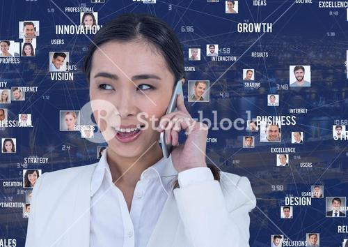 Businesswoman on phone against Night city with connectors