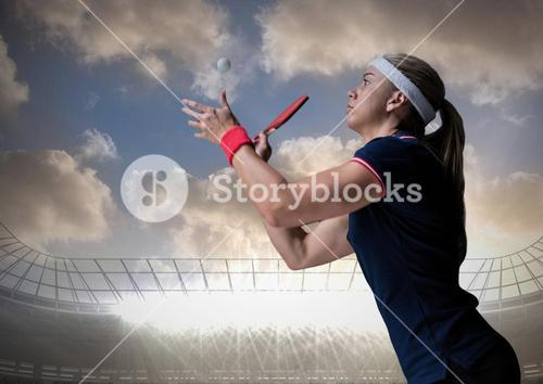 Table tennis player against stadium and sky with clouds