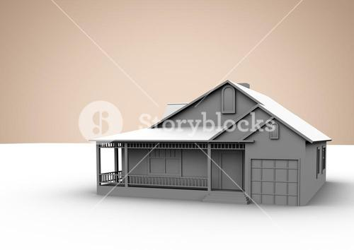 3D House against beige background