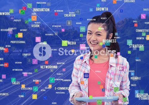 Young woman with tablet against Night city with connectors