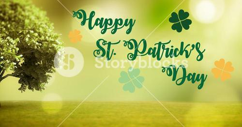 Patrick's Day graphic against green grass and tree