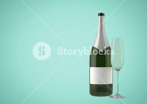 3D Bottle of wine with champagne glass against green background