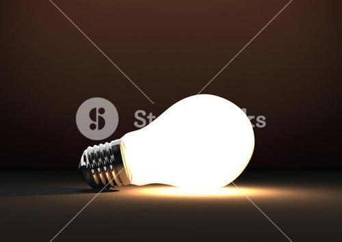 3D bulb against brown background