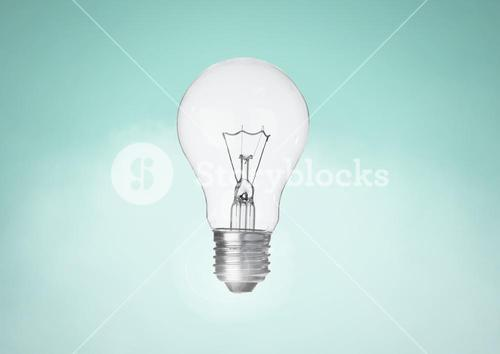 Light bulb against turqouise background