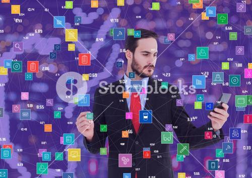 Businessman with phone against Night city with connectors
