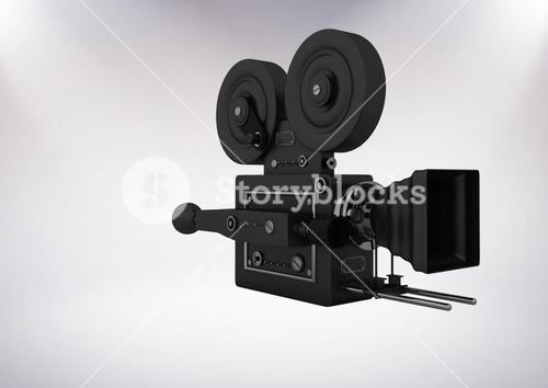 3D Film Camera against grey background