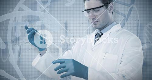 Composite image of doctor in medical gloves filling the test tube