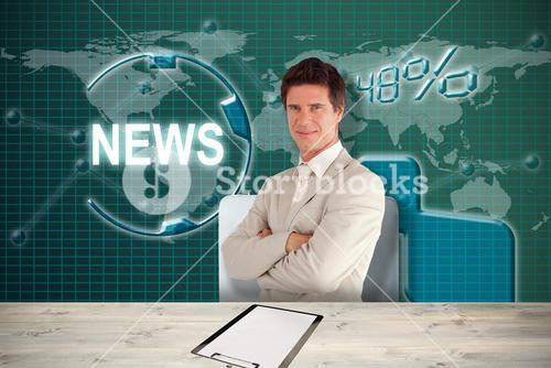 Composite image of confident businessman standing at the camera 3D