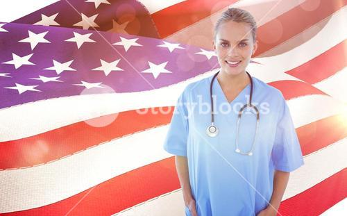 Composite image of happy doctor looking at camera with hands in pockets