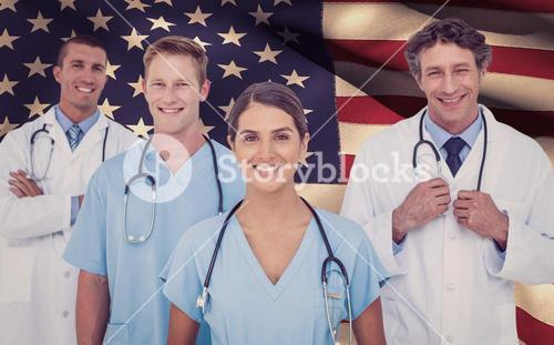 Composite image of portrait of smiling doctor standing with colleagues