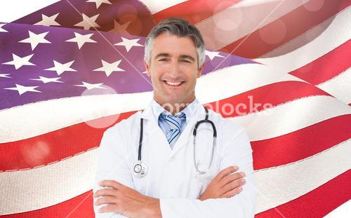 Composite image of happy doctor smiling at camera