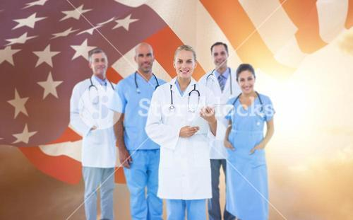 Composite image of portrait of confident female doctor with team over white background