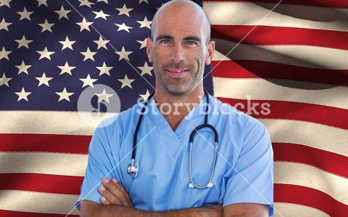 Composite image of confident male doctor looking at camera with arms crossed