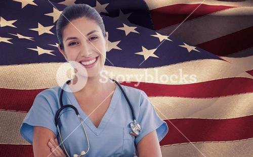 Composite image of smiling female doctor looking at camera