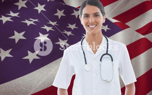 Composite image of happy doctor looking at camera beside windows