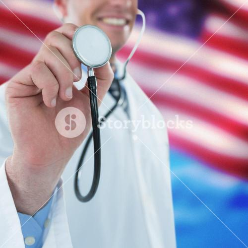 Composite image of doctor examining with stethoscope