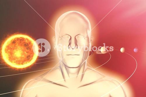 Composite image of composite image of various planets with sun