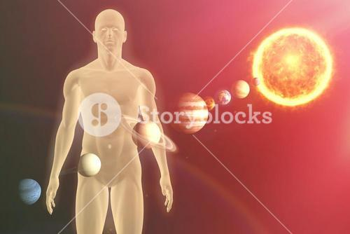Composite image of illustrative image of  solar system