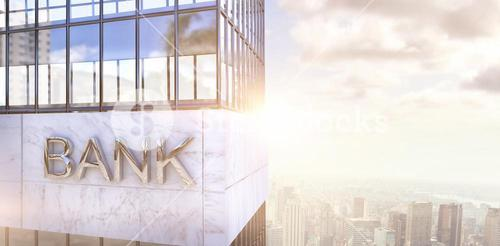Composite image of graphic image of bank building