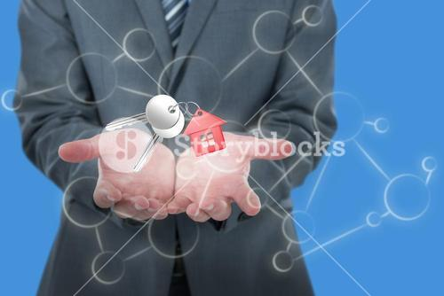 Composite image of midsection of businessman holding invisible object 3D