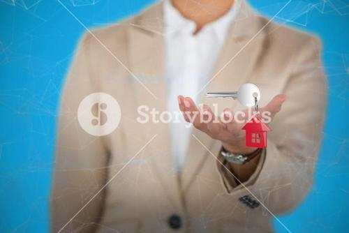 Composite image of businesswoman using digital screen against white background 3D
