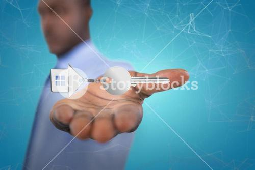 Composite image of businessman showing his hand 3D