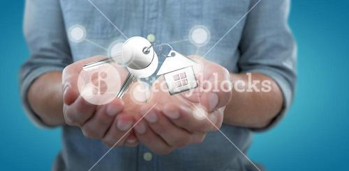 Composite image of man holding invisible object  3D