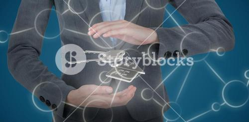 Composite image of businesswoman gesturing over white background 3D