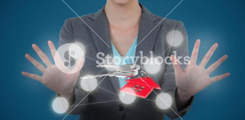 Composite image of businesswoman using digital screen 3D