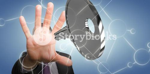 Composite image of close-up of businessman with stop gesture 3D