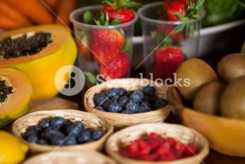 Various fruits in wicker basket