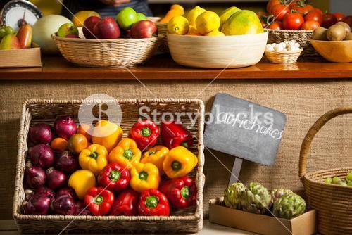 Various fruits and vegetables in organic section