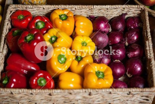 Various fresh vegetables in organic section