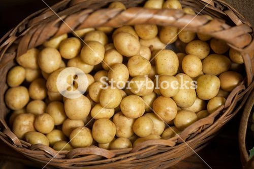 Close-up of potatoes in wicker basket