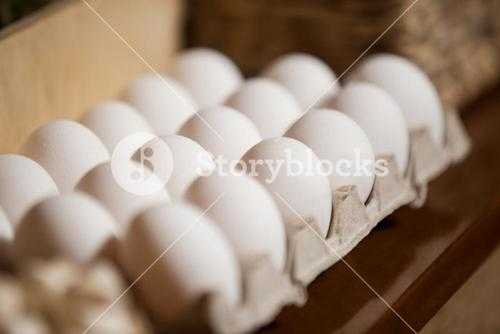 Close-up of eggs arranged in egg carton