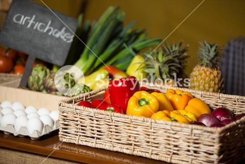 Various vegetables and fruits in organic section