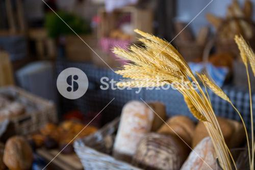 Ears of wheat at counter in bakery shop