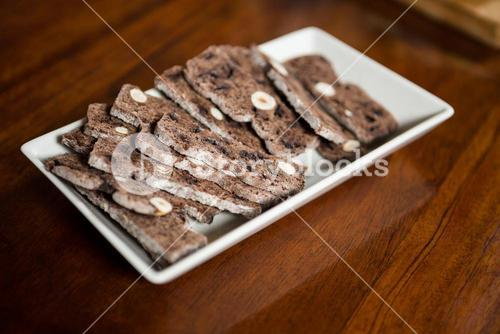 Baked snacks on tray