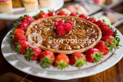 Close-up of strawberry pie at display counter