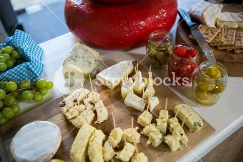 Various types of cheese at counter