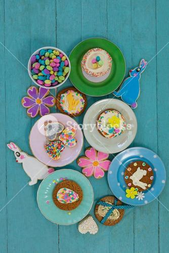 Various sweet foods and cookies in plate