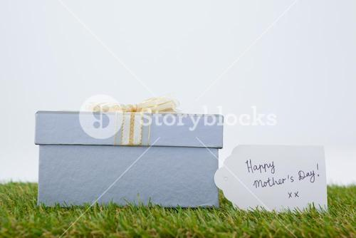 Happy mothers day card on gift box