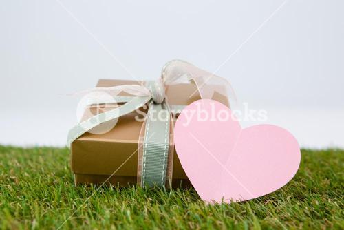 Heart shape card with gift box